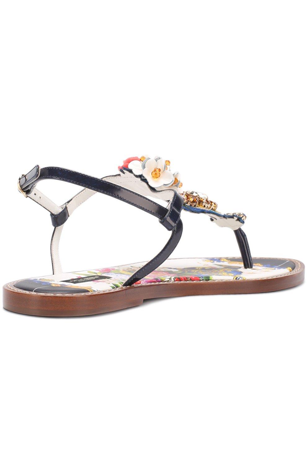 Кожаные сандалии с кристаллами Dolce & Gabbana разноцветные | Фото №4