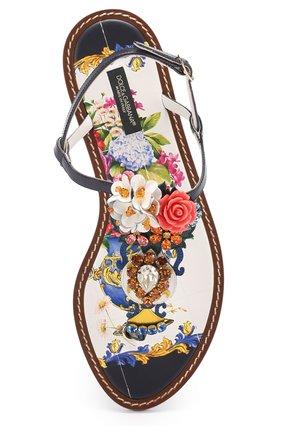 Кожаные сандалии с кристаллами Dolce & Gabbana разноцветные | Фото №5