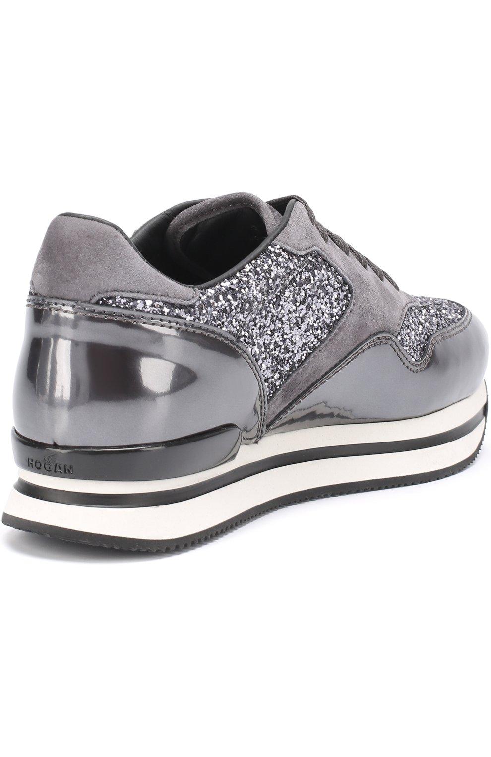 Комбинированные кроссовки с глиттером Hogan серые | Фото №4