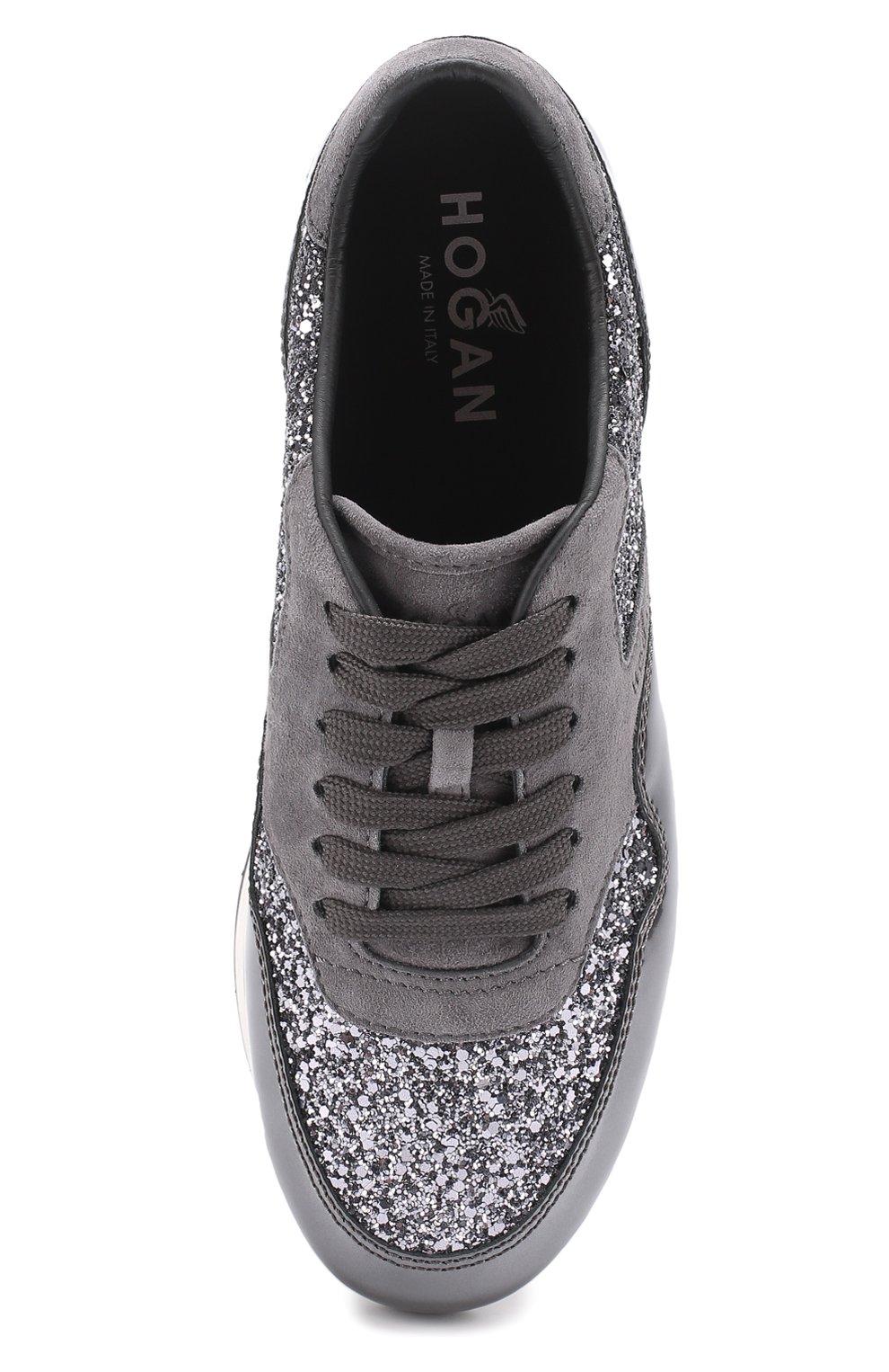 Комбинированные кроссовки с глиттером Hogan серые | Фото №5