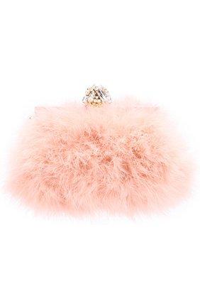 Клатч Vanda с отделкой из перьев Dolce & Gabbana розового цвета | Фото №1