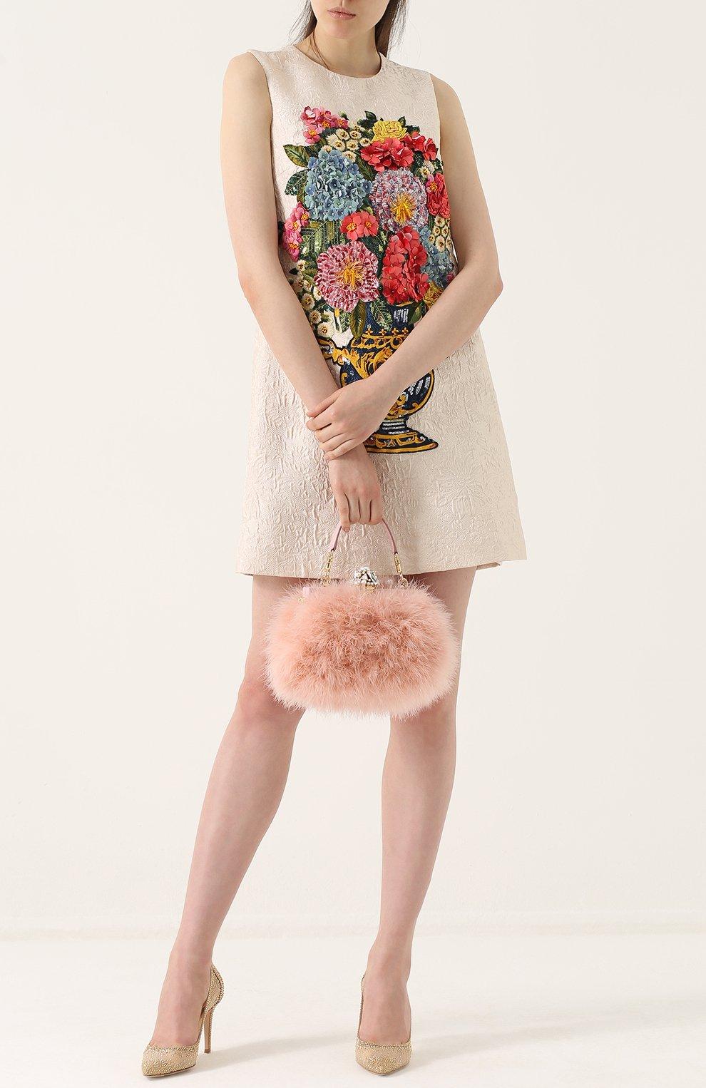 Клатч Vanda с отделкой из перьев Dolce & Gabbana розового цвета | Фото №2