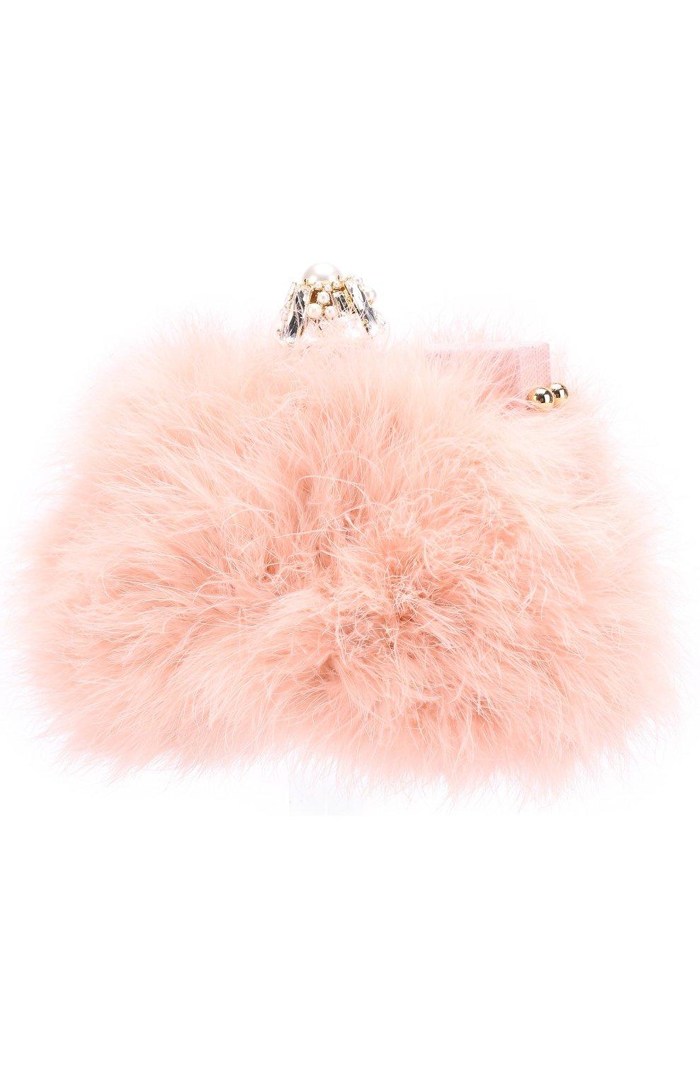 Клатч Vanda с отделкой из перьев Dolce & Gabbana розового цвета | Фото №3