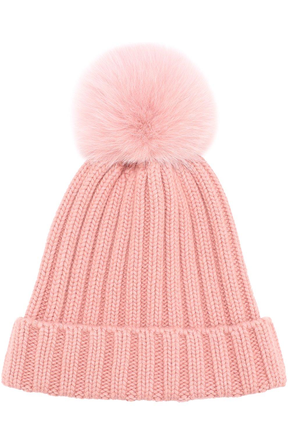 Вязаная шапка с помпоном из меха   Фото №1