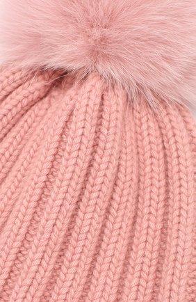 Вязаная шапка с помпоном из меха   Фото №3