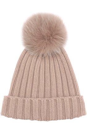 Вязаная шапка с помпоном из меха | Фото №1
