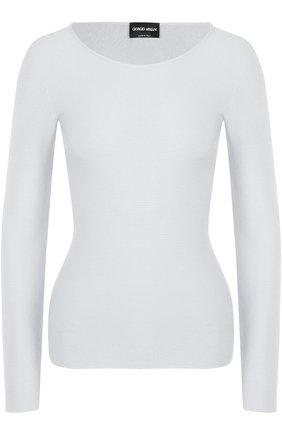 Облегающий пуловер с круглым вырезом | Фото №1