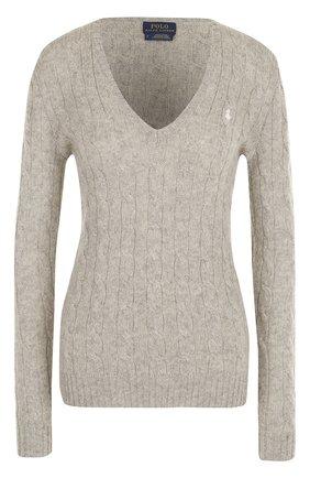 Женский пуловер фактурной вязки с v-образным вырезом POLO RALPH LAUREN серого цвета, арт. 211508656   Фото 1