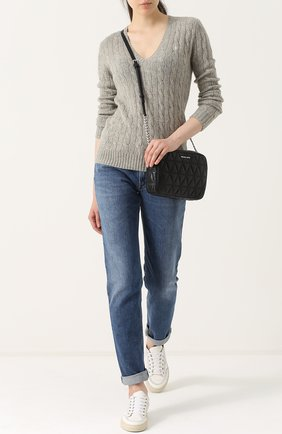 Женский пуловер фактурной вязки с v-образным вырезом POLO RALPH LAUREN серого цвета, арт. 211508656   Фото 2
