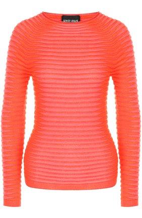 Женский пуловер фактурной вязки с круглым вырезом GIORGIO ARMANI красного цвета, арт. 6YAM02/AM20Z | Фото 1