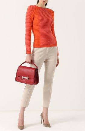 Женский пуловер фактурной вязки с круглым вырезом GIORGIO ARMANI красного цвета, арт. 6YAM02/AM20Z | Фото 2