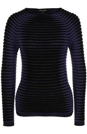 Пуловер фактурной вязки с круглым вырезом   Фото №1