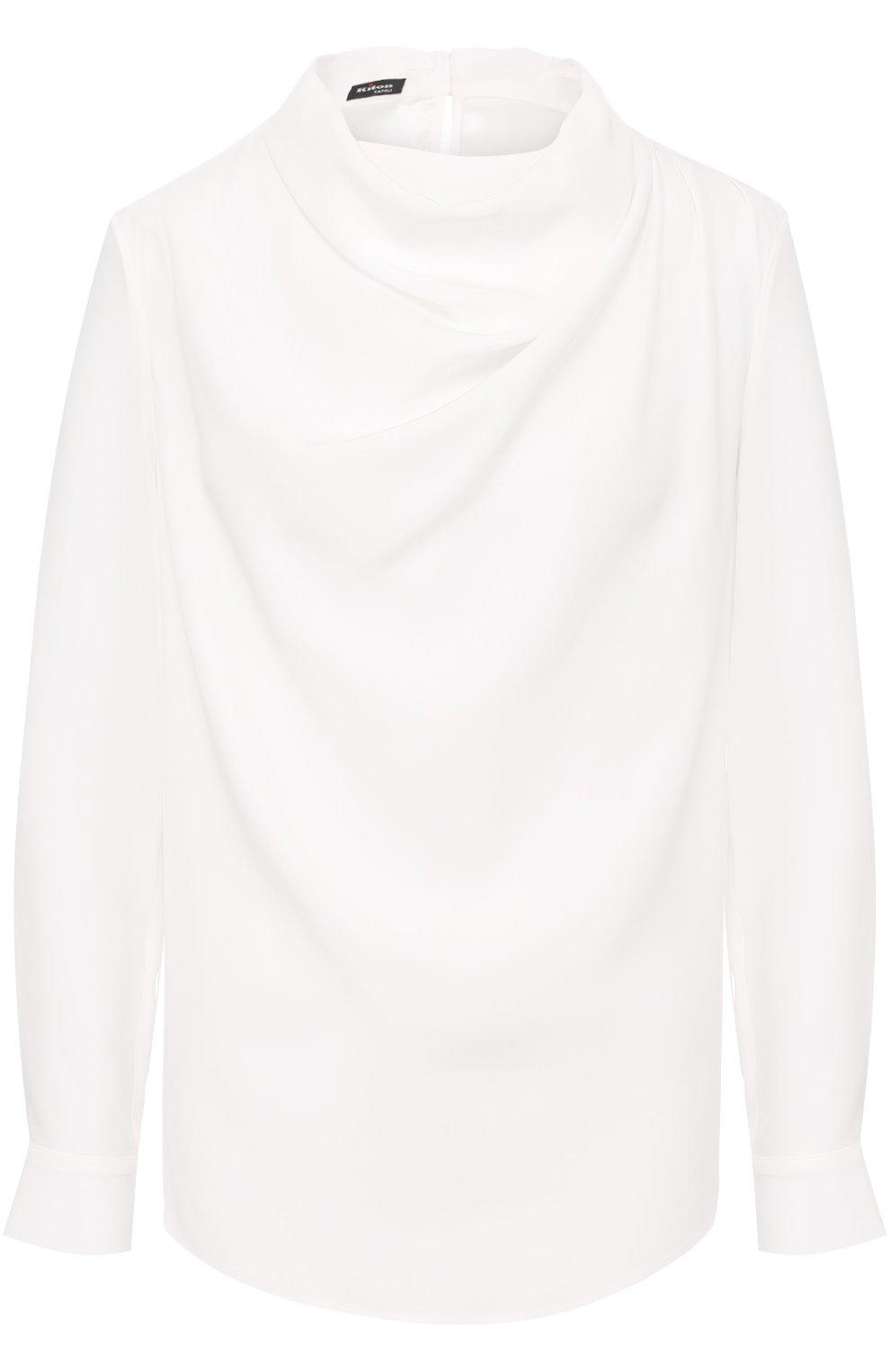 Женская шелковая блуза с драпировкой KITON белого цвета, арт. D40434K03337   Фото 1