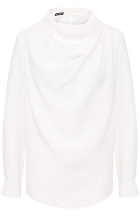 Женская шелковая блуза с драпировкой KITON белого цвета, арт. D40434K03337 | Фото 1