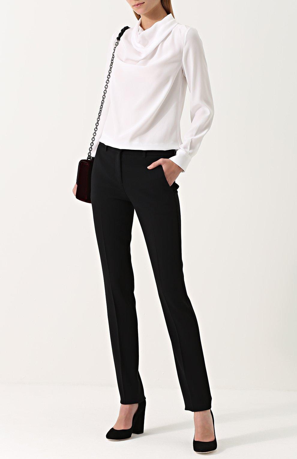 Женская шелковая блуза с драпировкой KITON белого цвета, арт. D40434K03337   Фото 2