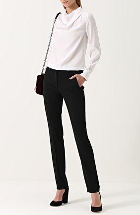 Женская шелковая блуза с драпировкой KITON белого цвета, арт. D40434K03337 | Фото 2