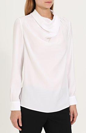 Женская шелковая блуза с драпировкой KITON белого цвета, арт. D40434K03337   Фото 3