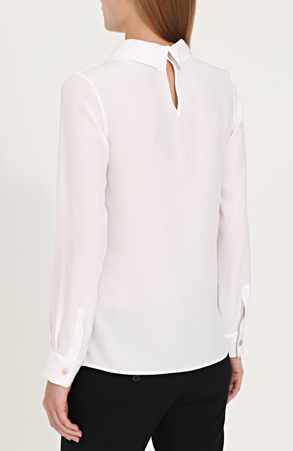 Женская шелковая блуза с драпировкой KITON белого цвета, арт. D40434K03337   Фото 4