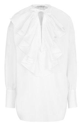 Хлопковая блуза свободного кроя с оборками | Фото №1