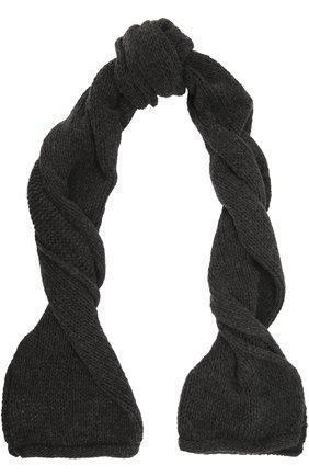 Вязаный шарф из шерсти Fine Edge черный | Фото №1