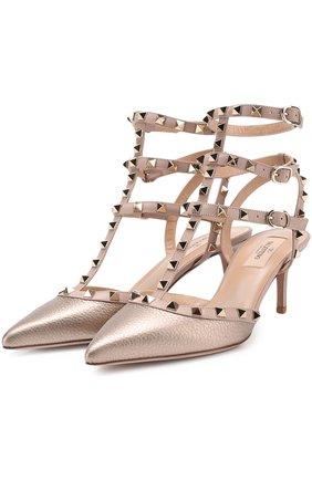 Туфли Valentino Garavani Rockstud из металлизированной кожи с ремешками | Фото №1