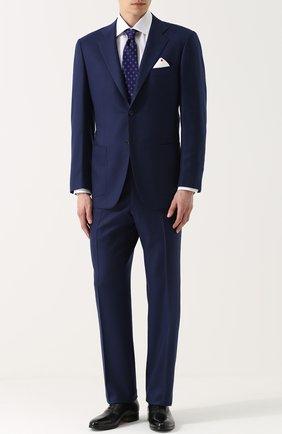 Мужской кашемировый костюм с пиджаком на двух пуговицах KITON темно-синего цвета, арт. UA81K01P45 | Фото 1
