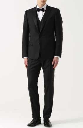 Шерстяной смокинг-тройка с шелковыми лацканами Dolce & Gabbana черный | Фото №1