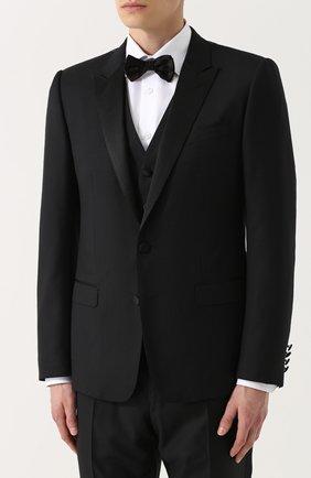 Шерстяной смокинг-тройка с шелковыми лацканами Dolce & Gabbana черный | Фото №2