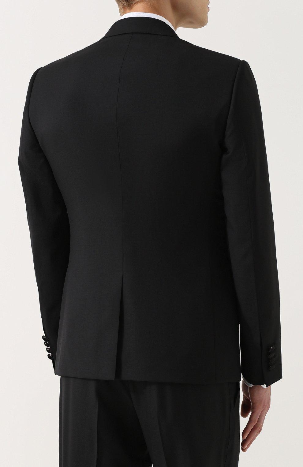 Шерстяной смокинг-тройка с шелковыми лацканами Dolce & Gabbana черный | Фото №3