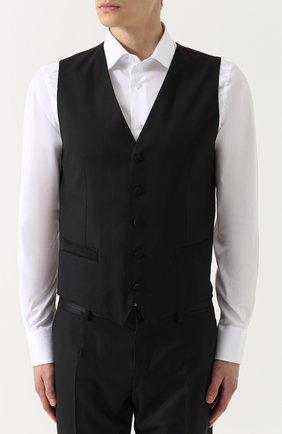 Шерстяной смокинг-тройка с шелковыми лацканами Dolce & Gabbana черный | Фото №4