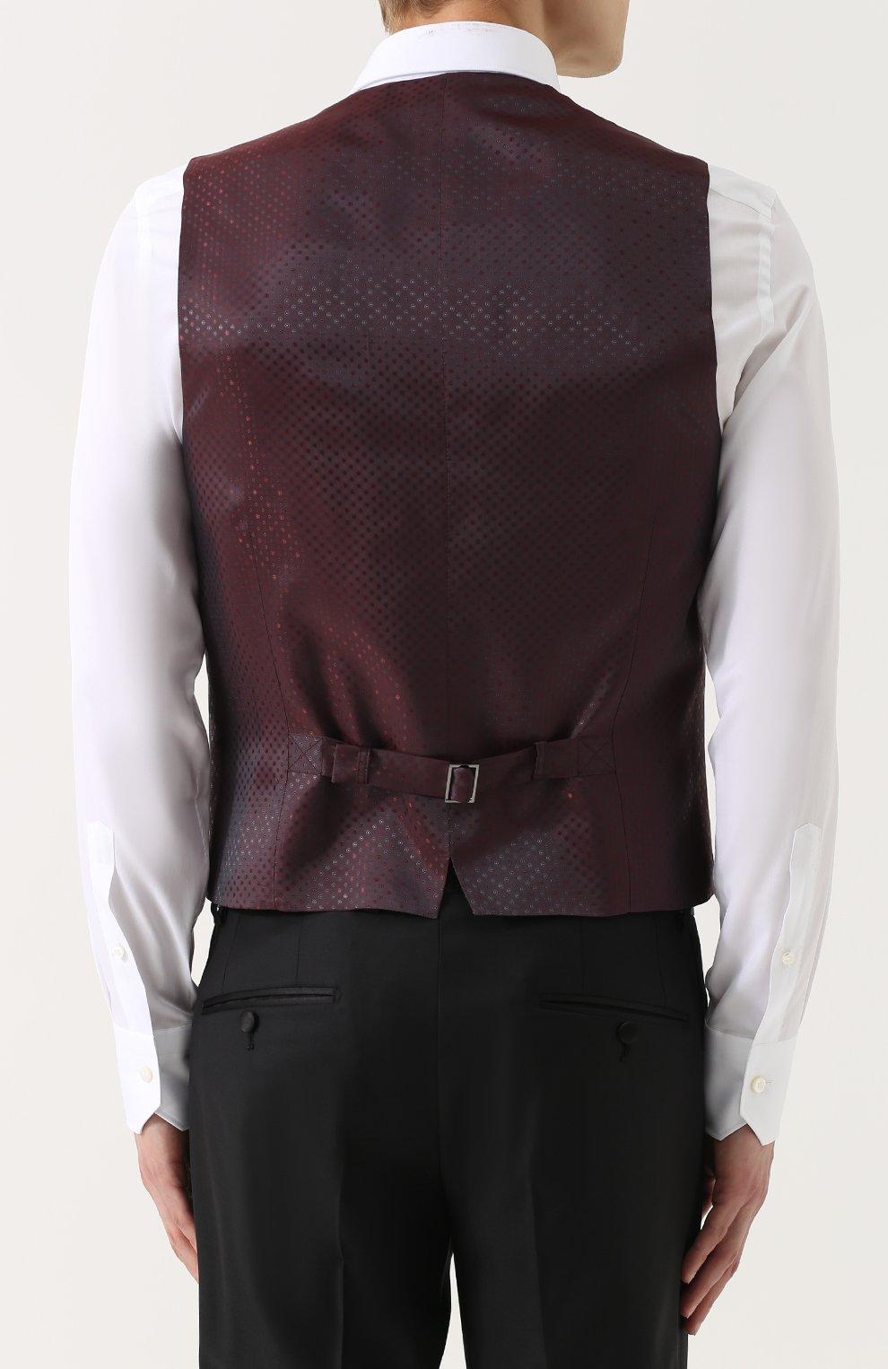 Шерстяной смокинг-тройка с шелковыми лацканами Dolce & Gabbana черный | Фото №5