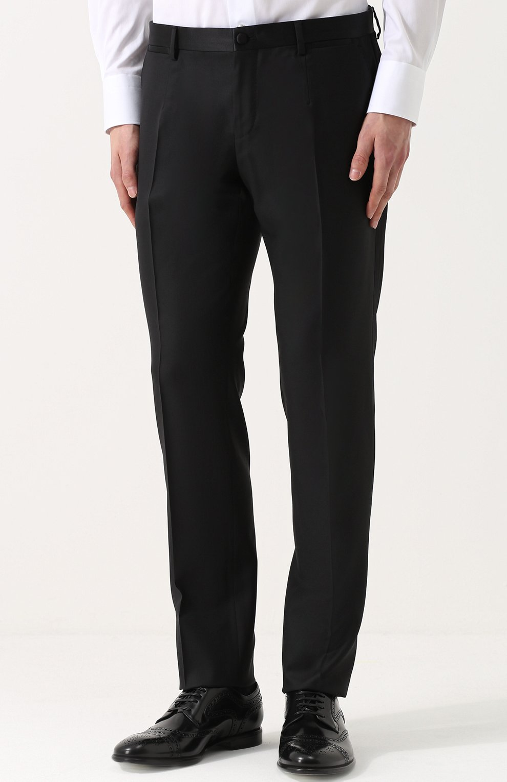 Шерстяной смокинг-тройка с шелковыми лацканами Dolce & Gabbana черный | Фото №6