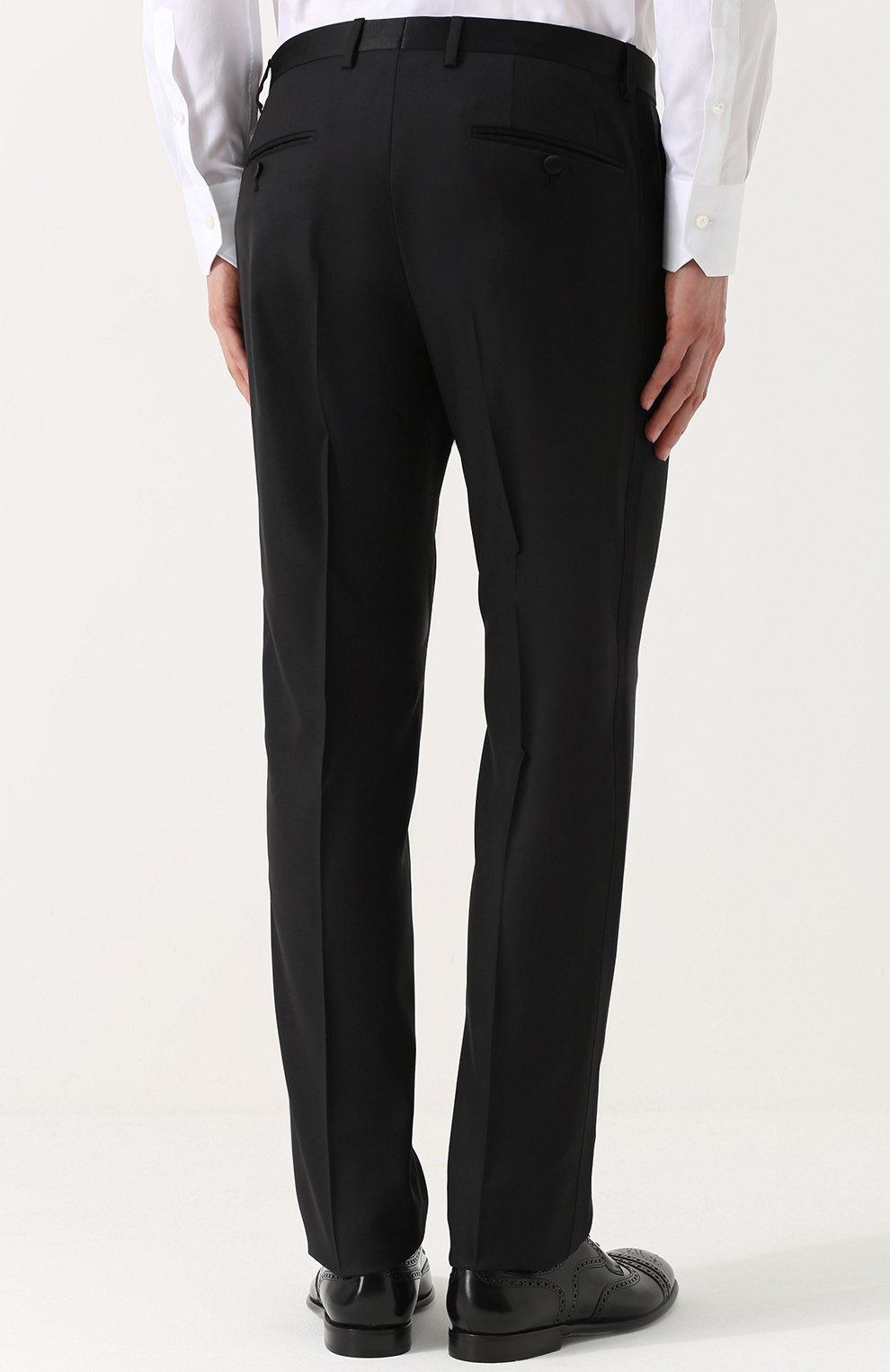 Шерстяной смокинг-тройка с шелковыми лацканами Dolce & Gabbana черный | Фото №7