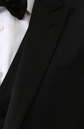 Шерстяной смокинг-тройка с шелковыми лацканами Dolce & Gabbana черный | Фото №9