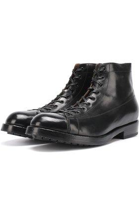Высокие кожаные ботинки на шнуровке Officine Creative черные   Фото №1