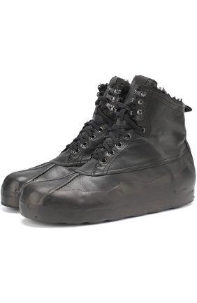Высокие кожаные кеды на шнуровке с внутренней меховой отделкой