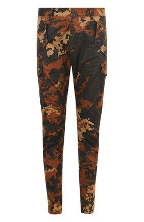 Хлопковые брюки карго с камуфляжным принтом