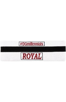 Шерстяная повязка с надписями Dolce & Gabbana черно-белого цвета   Фото №2