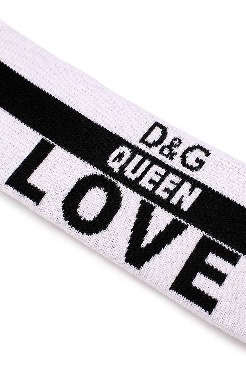Шерстяная повязка с надписями Dolce & Gabbana черно-белого цвета   Фото №3