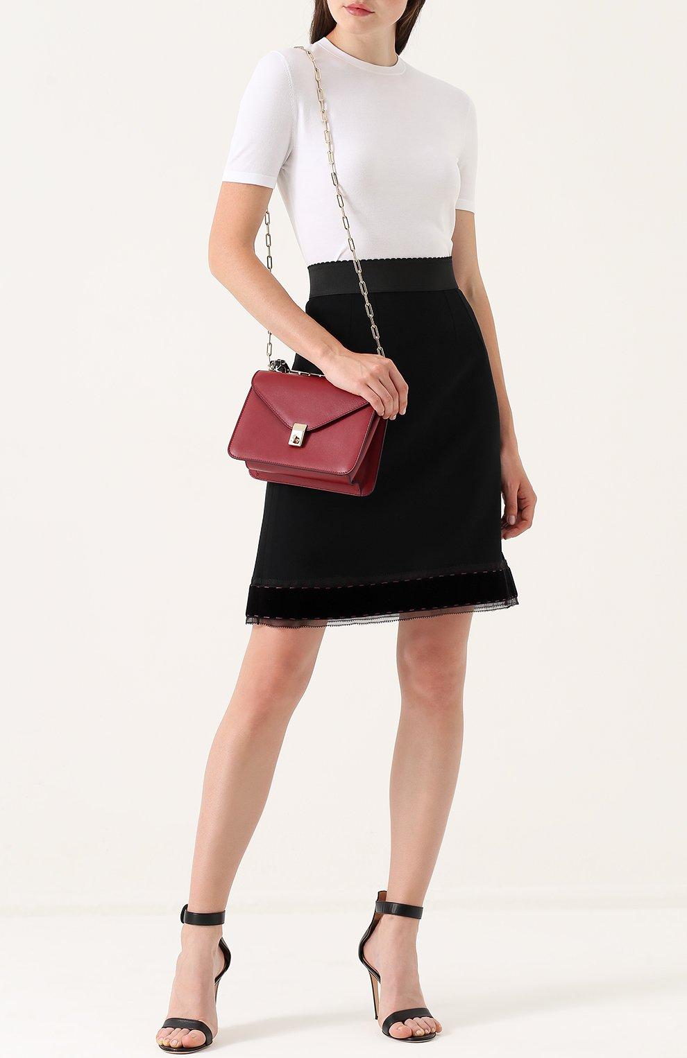 Юбка-миди с широким эластичным поясом Dolce & Gabbana черная | Фото №2