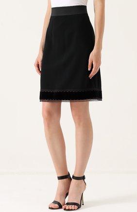 Юбка-миди с широким эластичным поясом Dolce & Gabbana черная | Фото №3