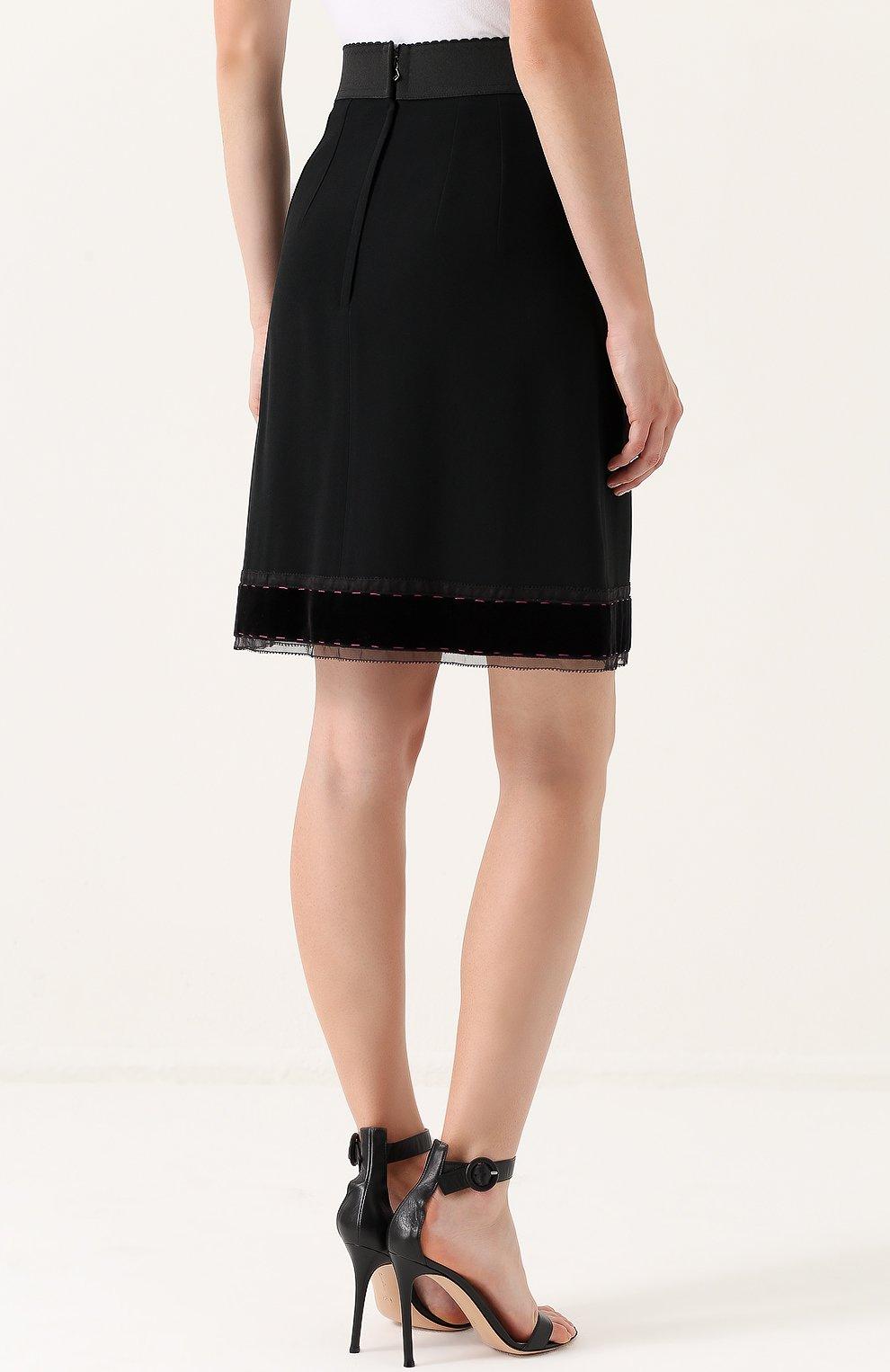 Юбка-миди с широким эластичным поясом Dolce & Gabbana черная | Фото №4