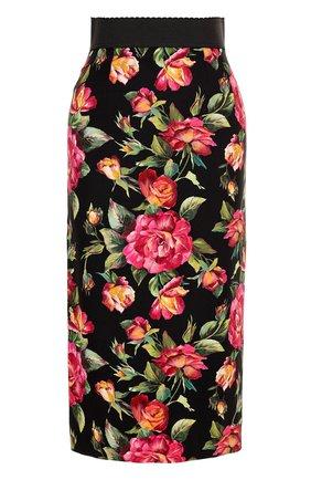 Юбка-карандаш с разрезом и цветочным принтом Dolce & Gabbana разноцветная | Фото №1