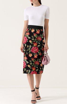 Юбка-карандаш с разрезом и цветочным принтом Dolce & Gabbana разноцветная | Фото №2