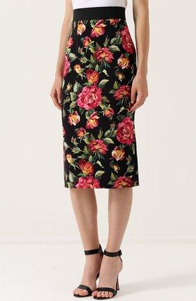 Юбка-карандаш с разрезом и цветочным принтом Dolce & Gabbana разноцветная | Фото №3