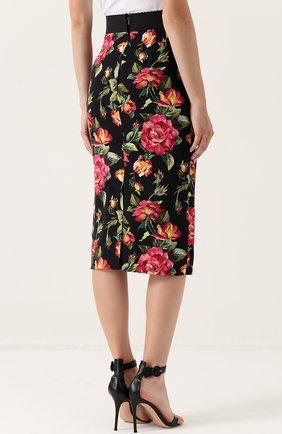 Юбка-карандаш с разрезом и цветочным принтом Dolce & Gabbana разноцветная | Фото №4