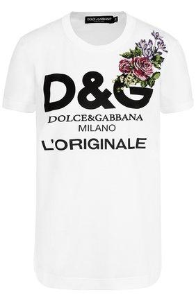 Хлопковая футболка с надписью и вышивкой Dolce & Gabbana белая | Фото №1