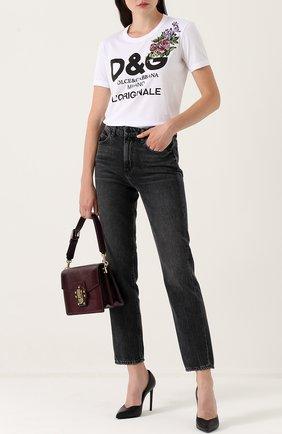 Хлопковая футболка с надписью и вышивкой Dolce & Gabbana белая | Фото №2