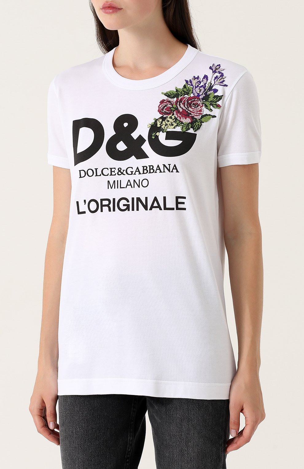 Хлопковая футболка с надписью и вышивкой Dolce & Gabbana белая | Фото №3