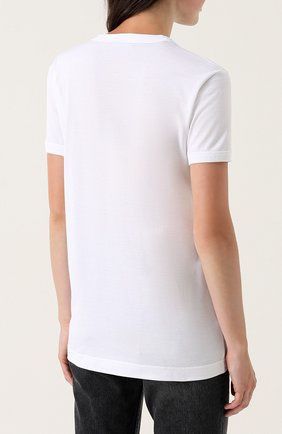 Хлопковая футболка с надписью и вышивкой Dolce & Gabbana белая | Фото №4